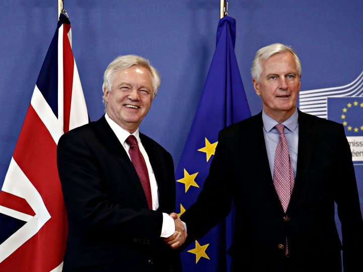 Britain's Secretary of State for Exiting the European Union David Davis  and European Commission member in charge of Brexit negotiations with Britain, Michel Barnier at the European Commission in Brussels on Jun. 19, 2017 as Britain starts formal talks to leave the EU. New Europe / Alexandros Michailidis