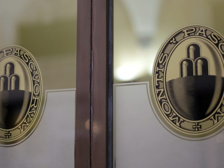 epa05956266 The logos of the Banca Monte dei Paschi di Siena (BMPS or MPS) are seen at the entrance to a branch of the bank in Siena, Italy, 18 April 2017. The MPS bank, founded in 1472 as 'Mount of piety,' is reported to be the world's oldest surviving bank and Italy's third largest commercial and retail bank.  EPA/MATTIA SEDDA