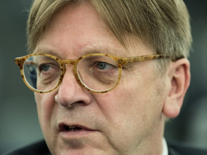 epa05969060 Guy Verhofstadt, leader of the ALDE Liberal group at the European Parliament,  reacts at the European Parliament in Strasbourg, France, 17 May 2017. In the morning, MEPs will debate the guidelines for the negotiations with the UK on the terms of its withdrawal, adopted at the April EU Summit.  EPA/PATRICK SEEGER