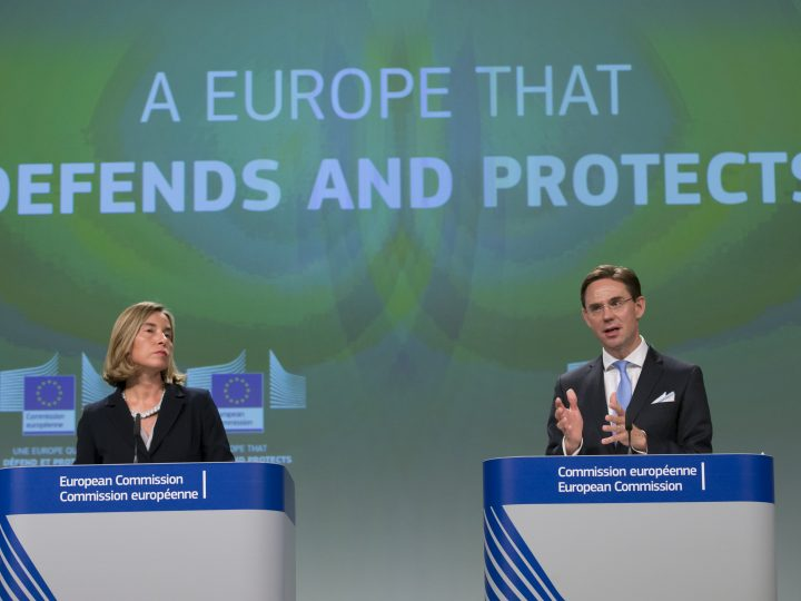 epa06014389 Federica Mogherini (L), EU High Representative for Foreign policy, and European Commissioner in charge of jobs, growth, investment and competitiveness, Jyrki Katainen (R) speak at a joint news conference about the reflection paper on the future of European Defence by 2025, and on the proposal for a European Defence fund, in Brussels, Belgium, 07 June 2017.  EPA/OLIVIER HOSLET