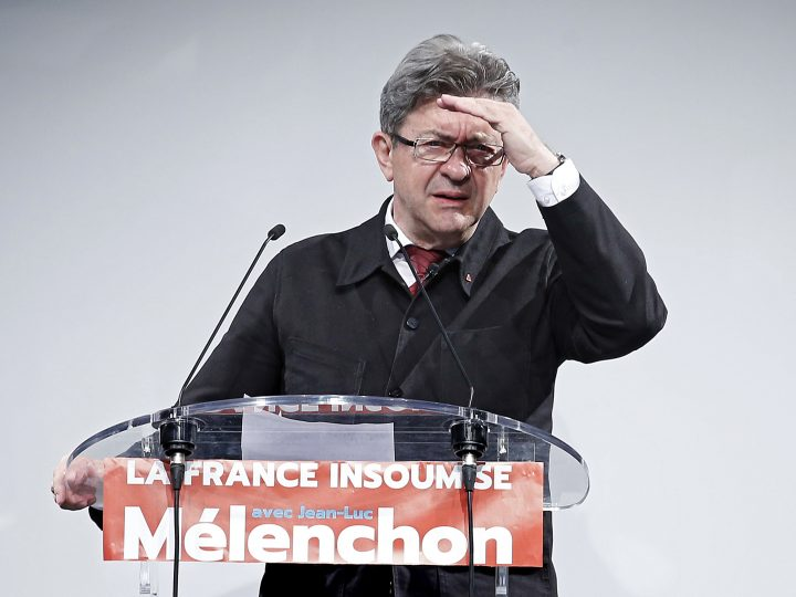 epa06023161 Former French presidential candidate for the far-left party 'La France Insoumise' (France Unbowed), Jean-Luc Melenchon getures during his speech after the first round of the French legislative elections in the 4th district of Marseille, France, 11 June 2017. First projections showed French President Macron's party 'Le Republique En Marche' (The Republic on the Move, LREM) emerging as the big winner as France holds the first round of parliamentary elections on 11 June 2017, just under two months after Macron took office as French President.  EPA/SEBASTIEN NOGIER