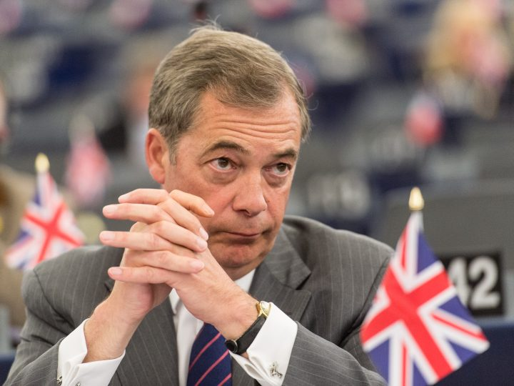 epa06027304 Nigel Farage, British Member of the European Parliament and former leader of the UK Independence Party (UKIP) listens to a speech about the Preparation of the European Council of 22 and 23 June 2017, at the European Parliament in Strasbourg, France, 14 June 2017.  EPA/PATRICK SEEGER