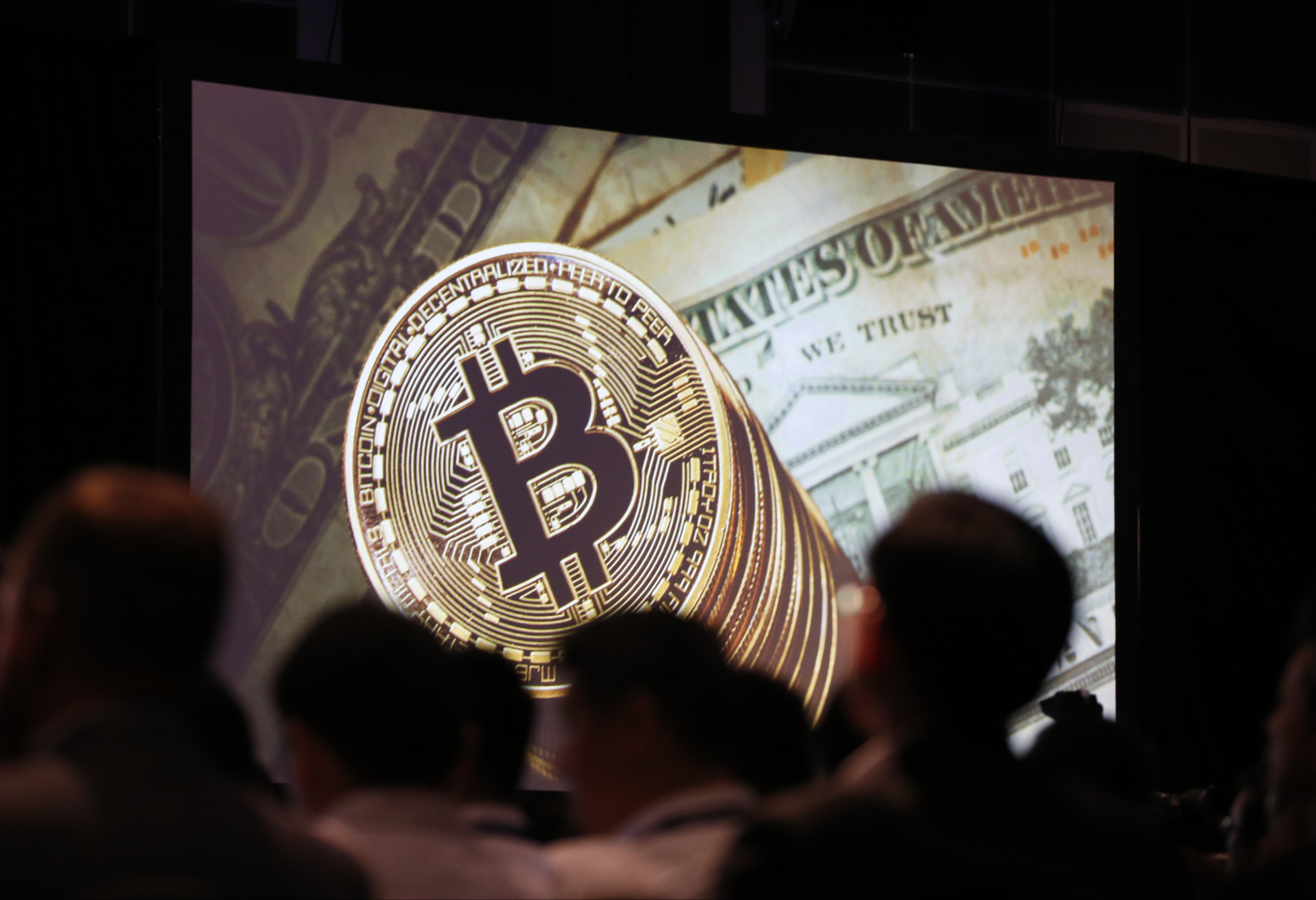 Crypto apocalypse bitcoin cash and vinniks arrest put blockchain members of the audience are silhouetted against a presentation slide showsing the bitcoin logo during the interpol world congress 2017 in singapore ccuart Images