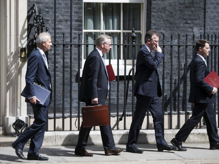 epa06094222 Lord Chancellor and Secretary of State for Justice David Lidington (L), Secretary of State for Environment, Food and Rural Affairs Michael Gove (2-L) Attorney General  Jeremy Wright (2-R) and Secretary of State for Northern Ireland James Brokenshire (R) leave 10 Downing Street after a Cabinet meeting in London in Britain, 18 July 2017. The cabinet meeting was the last to be hosted by Prime Minster Theresa May before the summer recess.  EPA/WILL OLIVER