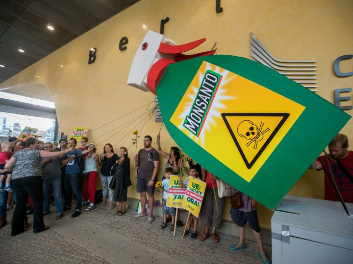 epa06096434 People gather and symbolically topple a giant bottle of 'Glyphosate' by US-based agrochemical company Monsanto to protest the use of the herbicide, in front of the seat of the European Commission at the Berlaymont building in Brussels, Belgium, 19 July 2017. The protest was held in the context of a debate within the European institutions, on whether or not to ban 'Glyphosate', a braodband hebicide which some scientists regard as being highly carcinogenic.  EPA/STEPHANIE LECOCQ