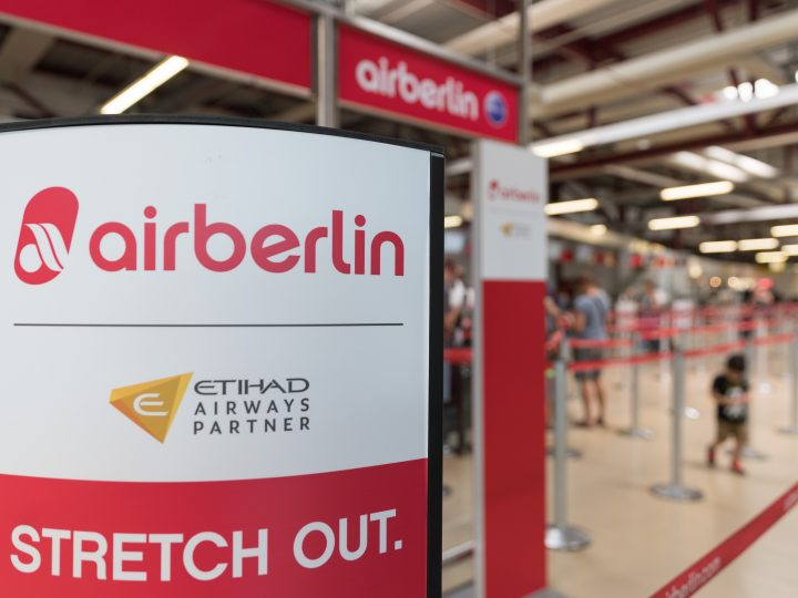 epa06145731 The logo of German carrier Air Berlin and VAE carrier Etihad at a termanal at Airport Tegel in Berlin, Germany, 15 August 2017. Reports on 15 August 2017 state Air Berlin, Germany's second largest airline, has filed for insolvency proceedings.  EPA/ALEXANDER BECHER