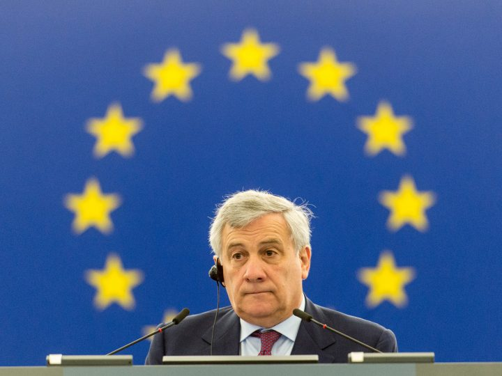 epa06064669 President of the European Parliament Antonio Tajani listens to a speech by President of the European Commission Jean-Claude Juncker (unseen) at the European Parliament in Strasbourg, France, 04 July 2017. Junker in his speech said, it was 'ridiculous' to speak before an almost empty plenum. There was a verbal battle with Antonio Tajani, President of the European Parliament.  EPA/PATRICK SEEGER