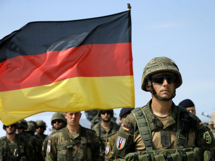epa06117224 German servicemen line up during the official opening ceremony of the joint multinational military exercise 'Noble Partner 2017' at the military base of Vaziani, outside Tbilisi, Georgia, 30 July 2017. The Noble Partner 2017 is larger-scale with engagement of NATO members and partner countries: Georgia, USA, UK, Germany, Turkey, Slovenia, Armenia, and Ukraine, reports Georgia's Ministry of Defense.  EPA/ZURAB KURTSIKIDZE