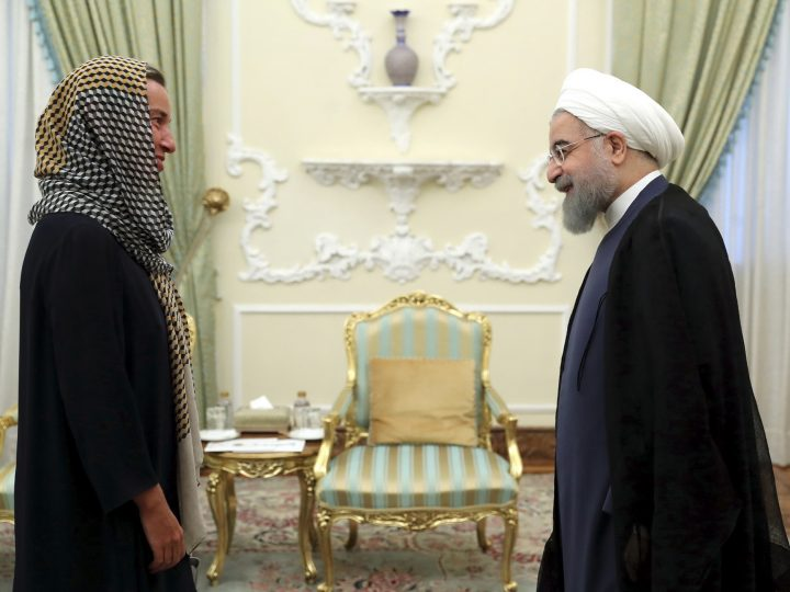 epa06125637 A handout photo made available by the presidential official website shows Iranian President Hassan Rouhani (R) greeting European Union (EU) foreign policy chief Federica Mogherini (L) at the presidential office in Tehran, Iran, 05 August 2017. According to media reports, Mogherini is in Tehran to meet with Iranian officials and participate at the Rouhani's swearing-in ceremony for a four-year presidential term.  EPA/PRESIDENTIAL OFFICIAL WEBSITE /  HANDOUT EDITORIAL USE ONLY/NO SALES