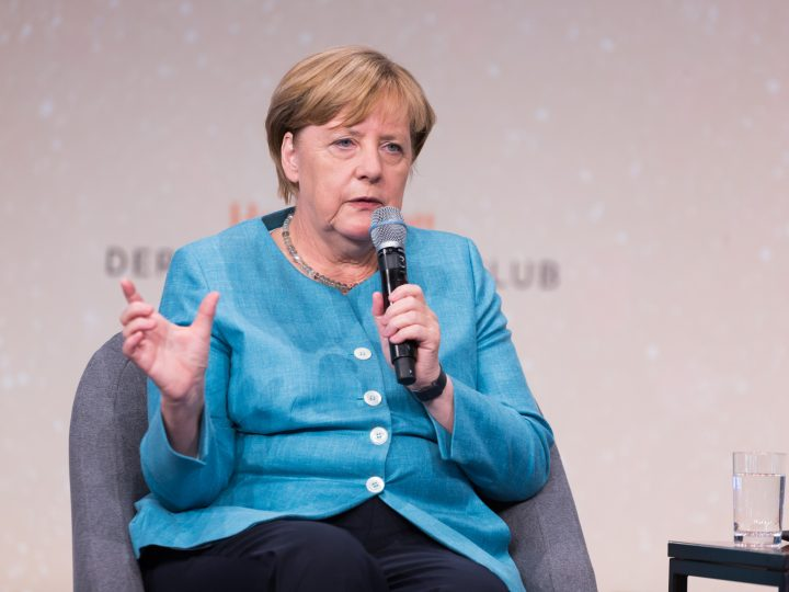 epa06157871 German Chancellor, Angela Merkel, takes part in the Deutschland Live interview entitled,  Where does the West go? with the German Newspaper Handelblatt editor Gabor Steingart (not pictured) at Westhafen Event and Convention Center (WECC) in Berlin, Germany, 23 August 2017.  EPA/Steffens / POOL