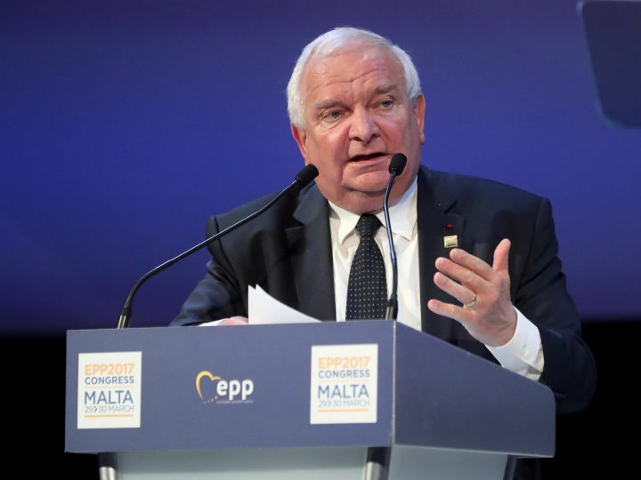 epa05879071 Joseph Daul, EPP President speaks during the EPP Summit, in Saint Julians, Malta, 30 March 2017. The Maltese Nationalist Party (PN) is hosting the center-right pro-European political party European People's Party (EPP) congress and summit in Malta from 29 to 30 March. The congress and summit will discuss topics such as migration, terrorism, war and unrest in the Middle East, the relations with Russia and the general impact on economy and societies arising from the globalization.  EPA/DOMENIC AQUILINA