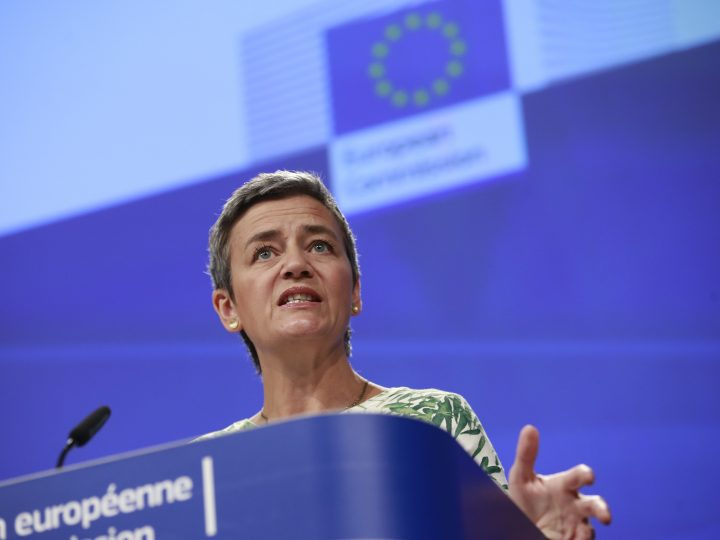 epa06069259 EU Commissioner for Competition, Danish, Margrethe Vestager gives a press conference on Merger rules in Brussels, Belgium, 06 July 2017. The Commission alleges Merck and Sigma-Aldrich, General Electric, and Canon breached EU merger procedural rules.  EPA/OLIVIER HOSLET