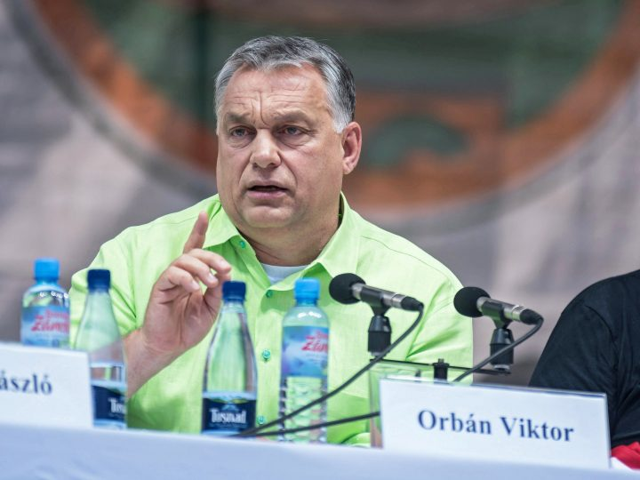epa06103002 Hungarian Prime Minister Viktor Orban delivers a speech during an event of the 28th Balvanyos Summer University and Students' Camp in Baile Tusnad, Transylvania, Romania, 22 July 2017. The week-long Balvanyos Summer University and Camp is held annually since 1990 and it's one of the most important national political workshops of Hungary's governing Fidesz - Hungarian Civic Alliance. This is the biggest public forum of Hungary's dialogue with the ethnic Hungarian minority and with Romania. Beyond the lectures and roundtables there are rich variety of cultural programmes, including plenty of concerts in each year.  EPA/Nandor Veres HUNGARY OUT