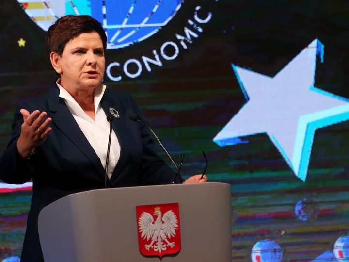 epa06187421 Polish Prime Minister Beata Szydlo delivers a speech during the XXVII Economic Forum in Krynica Zdroj, southern Poland, 06 September 2017. The Forum will run until 07 September.  EPA-EFE/GRZEGORZ MOMOT POLAND OUT
