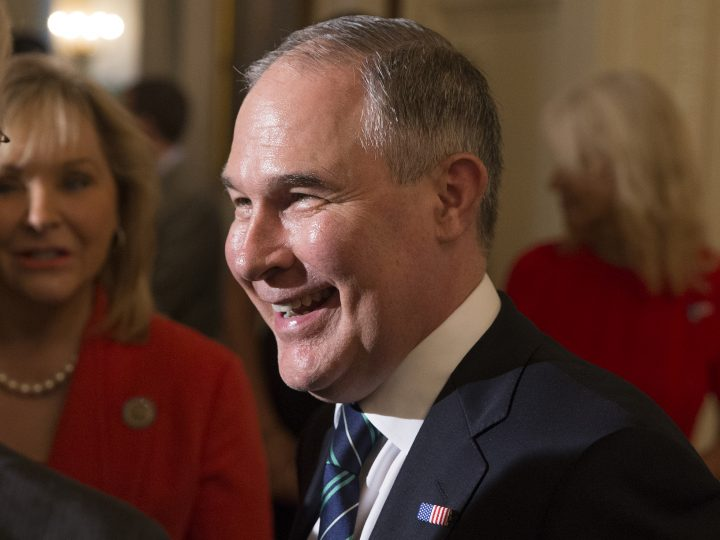 epa06093660 Administrator of the Environmental Protection Agency (EPA) Scott Pruitt attends a showcase of products made in the United States, in the East Room of the White House in Washington, DC, USA, 17 July 2017. US President Donald J. Trump participated at the White House in a showcase of products 'Made in America', which featured 50 products from the 50 states of the nation. Trump signed a presidential proclamation in the East Room making 17 July 'Made in America' Day and this week, 'Made in America' week.  EPA/MICHAEL REYNOLDS