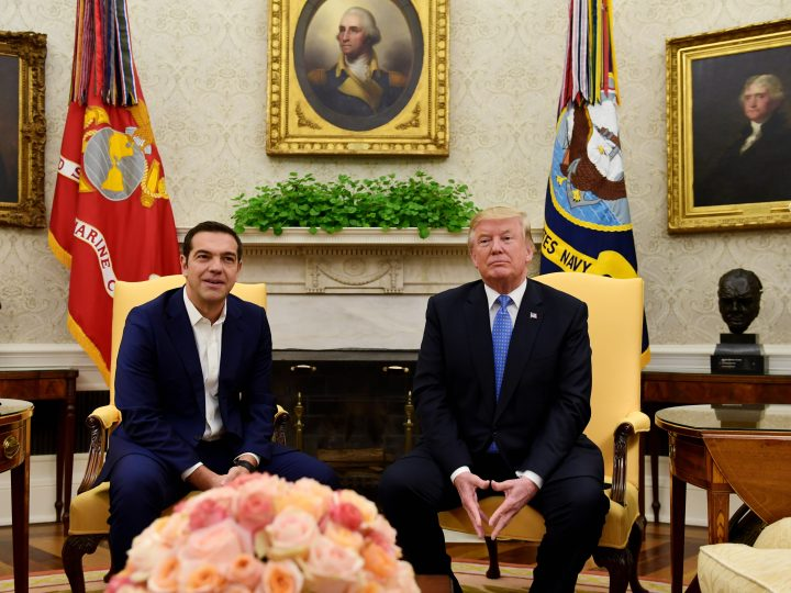 President Donald Trump meets with Greek Prime Minister Alexis Tsipras in the Oval Office of the White House in Washington, Tuesday, Oct. 17, 2017. (AP Photo/Susan Walsh)