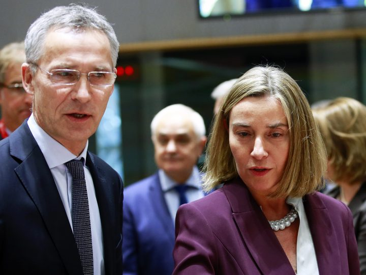 epa06326727 NATO Secretary General Jens Stoltenberg (L) and EU High representative for foreign policy Federica Mogherini (R) attends the EU Defence ministers council meeting with NATO Secretary General in Brussels, Belgium, 13 November 2017. The ministers will discuss EU-NATO cooperation.  EPA-EFE/OLIVIER HOSLET