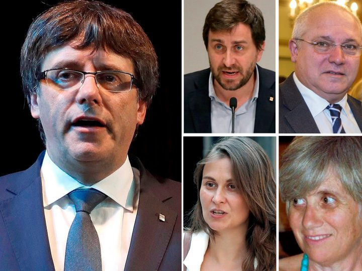 epa06306822 A combo file picture issued on 03 November 2017 shows former Catalan President Carles Puigdemont (L) and four former members of Catalan government (top L-R) Antoni Comin, Lluis Puig, Meritxell Serret, and Clara Ponsati. Judge Carmen Lamela issued an European detention for Puigdemont and former members of Catalan government involved in the declaration of independence passed in the regional parliament last 27 October 2017, who travelled to Brussels on 30 October.  EPA-EFE/EFE