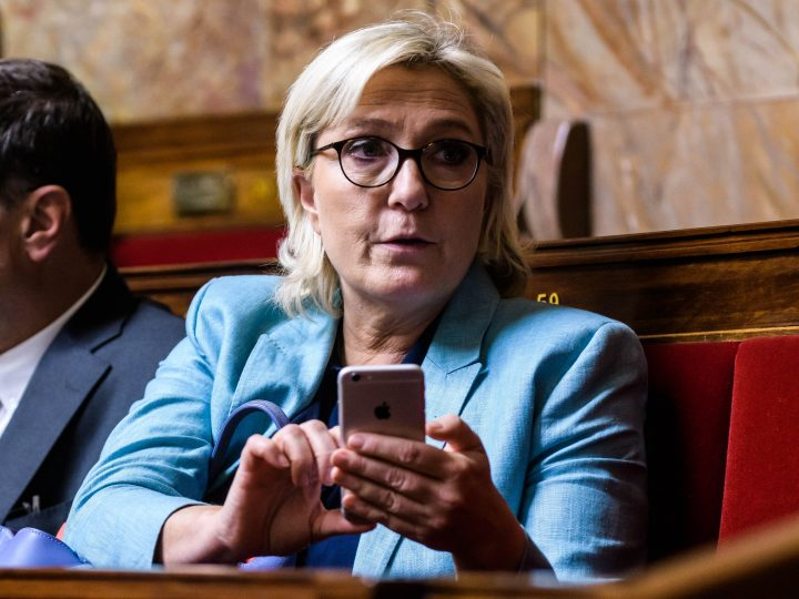 epa06315915 (FILE) - Marine Le Pen Member of Parliament and president of the Front National (FN) party during the weekly session of the questions to the government at the national assembly in Paris, France, 17 October 2017 (reissued 08 November 2017). According to reports, the French National Assembly lifted Le Pen's immunity on 08 November 2017 over she having tweeted pictures of activities committed by the Islamic State (IS) terror group.  EPA-EFE/CHRISTOPHE PETIT TESSON
