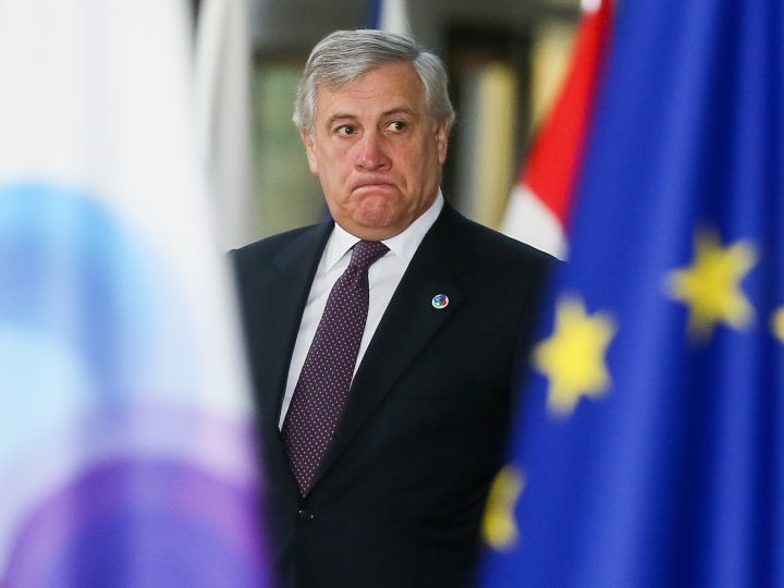 epa06347588 President of the European Parliament, Antonio Tajani arrives for the EU Eastern Partnership (EaP) Summit in Brussels, Belgium, 24 November 2017. The summit brings together EU heads of states or government with six former Soviet states Armenia, Azerbaijan, Belarus, Georgia, Moldova and Ukraine.  EPA-EFE/STEPHANIE LECOCQ