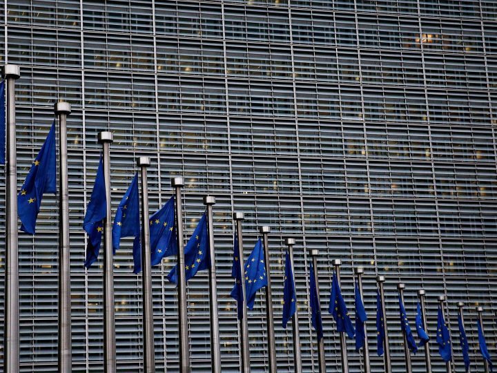 European flags flutter in the wind in front of the European Commission in Brussels, Belgium, 5 December 2017. New Europe / Alexandros Michailidis
