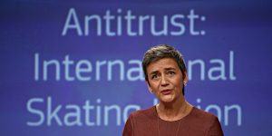 EU Commissioner for Competition, Danish, Margrethe Vestager gives a press conference on Antitrust case in Brussels, Belgium, 08 December 2017.  New Europe / Alexandros Michailidis