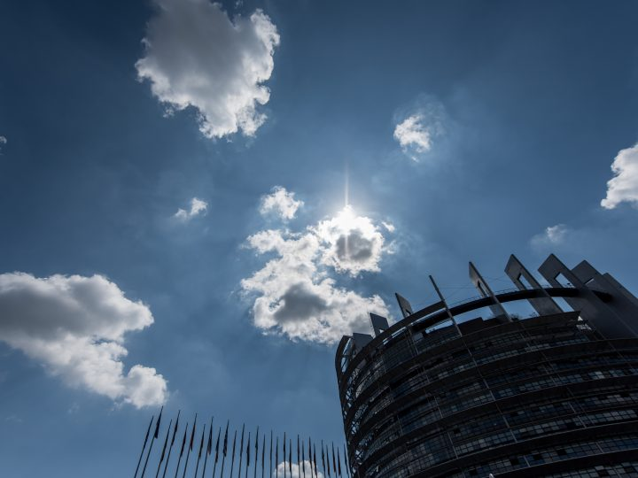 epa06064985 The sun shines behind clouds above the European Parliament in Strasbourg, France, 04 July 2017.  EPA/PATRICK SEEGER
