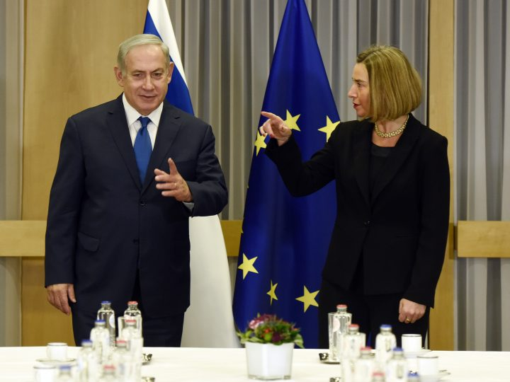 epa06382396 Israeli Prime Minister Benjamin Netanyahu   (L) is welcomed by Federica Mogherini the EU High representative for foreign policy prior to the meeting with EU foreign ministers in Brussels, Belgium, 11 December 2017. The meeting, shortly after US President Donald J. Trump recognized Jerusalem as a capital of Israel, will focus on bilateral relations and regional developments.  EPA-EFE/ERIC VIDAL / POOL