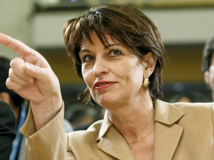 epa06397347 Swiss President Doris Leuthard gestures during the opening ceremony of the 12th annual meeting of the Internet Governance Forum (IGF), at the European headquarters of the United Nations in Geneva, Switzerland, 18 December 2017. The forum is on the theme 'Shape Your Digital Future!'.  EPA-EFE/SALVATORE DI NOLFI