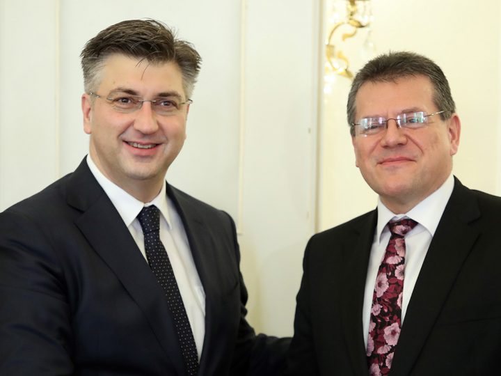 Handshake between Andrej Plenkovic, Croatian Prime Minister, on the left and Maros Sefcovic, Vice-President of the European Commission, during meeting in Government building in Zagreb, Croatia, 30. January 2018.