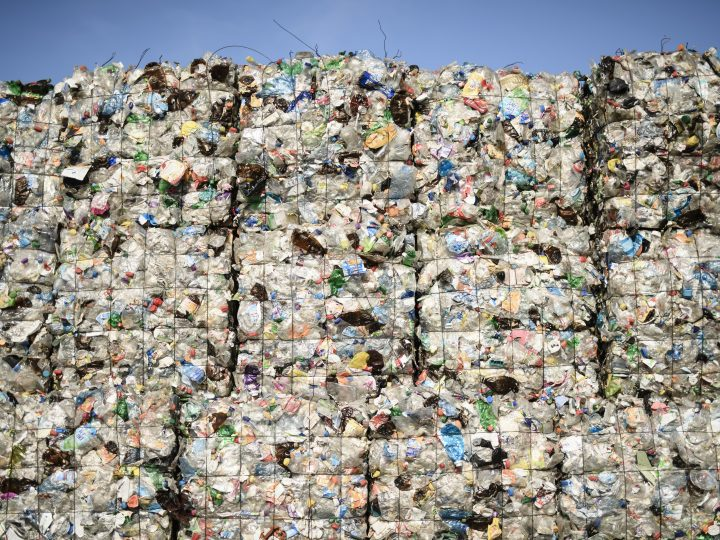 epa06148221 Plastic waste seen at the ALBA Group recycling plant in Berlin, Germany, 15 August 2017 (issued 17 August 2017). Some 140.000 tons of plastic waste per year are processed at the plant of the ALBA Group in Berlin. According to a European Union report, one third of all plastic waste in EU is sent to a landfill instead of it being recycled. According to a EU estimate, millions of tons of plastic waste end up in the oceans, much of it breaking into small particles called microplastic, harming all sea life. The EU has activated the 'Circular Economy Action Package', adopted in December 2015, making plastics a priority. While plastic waste already needs to be collected separately, the 'Package' proposes raising the recycling target for plastic packaging to 55 per cent, and reducing landfilling to no more than 10 per cent by 2030. A EU environment paper says the  European Commission is preparing a new dedicated plastics strategy aimed at helping Europe improve recycling, cut marine litter, and remove potentially dangerous chemicals.  EPA/CLEMENS BILAN