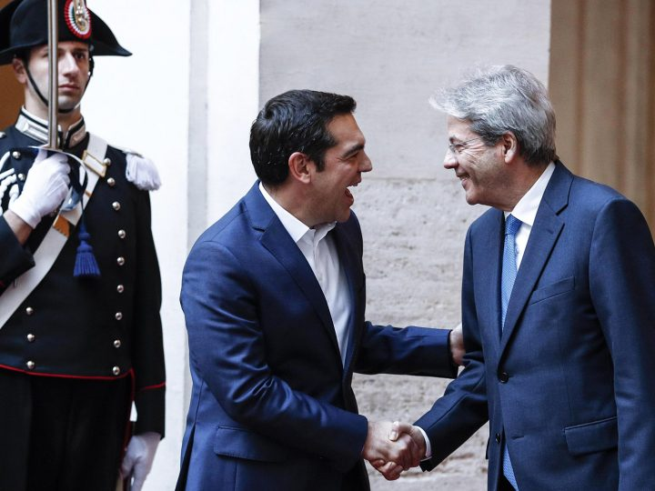 epa06429139 Italian Premier Paolo Gentiloni (R) welcomes Greek Prime Minister Alexis Tsipras (L) at Chigi Palace in Rome, Italy, 10 January 2018. The leaders of the southern European countries are meeting in Rome to attend the fourth summit on migrants and EU future. The summit aims to strengthen the united front on topics such as migration, the Economic and Monetary Union (EMU), and growth and investments in 2018, considered a critical year for the European Union. The countries participating in the summit are Italy, France, Spain, Portugal, Greece, Malta and Cyprus.  EPA-EFE/GIUSEPPE LAMI