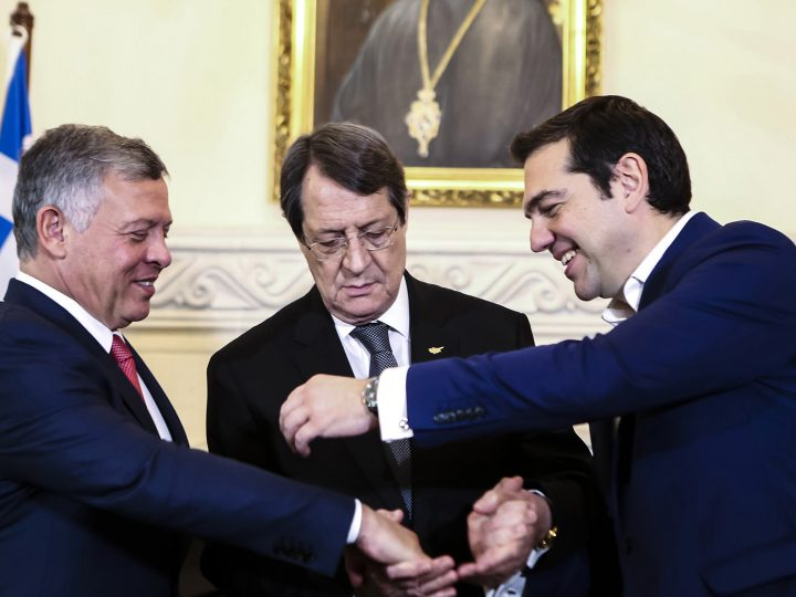 epa06442960 President of Cyprus Nikos Anastasiades (C) is flanked by his guests King of Jordan, Abdalla ?? (L) and the Prime Minister of Greece, Alexis Tsipras (R) as they pose for the media during their meeting for the Cyprus-Greece-Jordan tripartite meeting, at the Presidential Palace in Nicosia, Cyprus, 16 January 2018. The meeting is the first of its kind at this level during which - apart from the signing of mutual agreements and a Memorandum of Understanding - it is expected that it will lay the foundations for a strategic cooperation at all levels. The Declaration of Nicosia is also scheduled to be adopted, constituting a roadmap of the actions which will follow and the common approaches of the three states on important current issues, including regional developments.  EPA-EFE/IAKOVOS HATZISTAVROU / POOL / POOL
