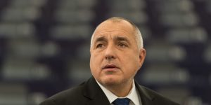 epa06445756 Bulgaria's Prime Minister Boyko Borissov delivers his speech at the European Parliament in Strasbourg, France, 17 January 2018, during a debate on the preview of the Bulgarian Presidency. Bulgaria took over the rotating Presidency of the Council of Europe on 15 January 2018.  EPA-EFE/PATRICK SEEGER