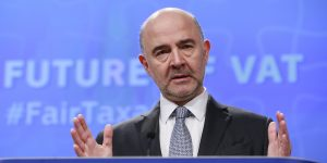 epa06449633 Pierre Moscovici, the European Commissioner for Economic and Financial Affairs, Taxation and Customs gives a press conference in Brussels, Belgium, 18 January 2018, on the proposals to reform of the EU VAT system in Europe.  EPA-EFE/OLIVIER HOSLET