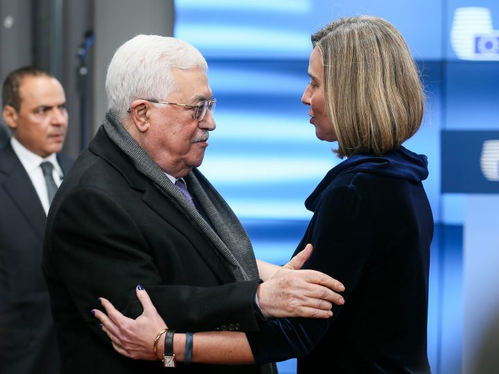 epa06464741 The Palestinian President Mahmoud Abbas (L) is welcomed by EU High Representative for Foreign Affairs Federica Mogherini (R) prior to a meeting at the EU Council in Brussels, Belgium, 22 January 2017.  EPA-EFE/STEPHANIE LECOCQ