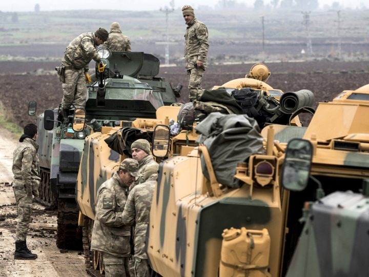 epa06469773 Turkish soldiers train with their tanks and armored vehicles near Syrian-Turkish border, at Hatay, Turkey, 24 January 2018. Reports state that the Turkish army is on an operation named 'Operation Olive Branch' in Syria's northern regions against the Kurdish Popular Protection Units (YPG) forces which control the city of Afrin. Turkey classifies the YPG as a terrorist organization.  EPA-EFE/SEDAT SUNA
