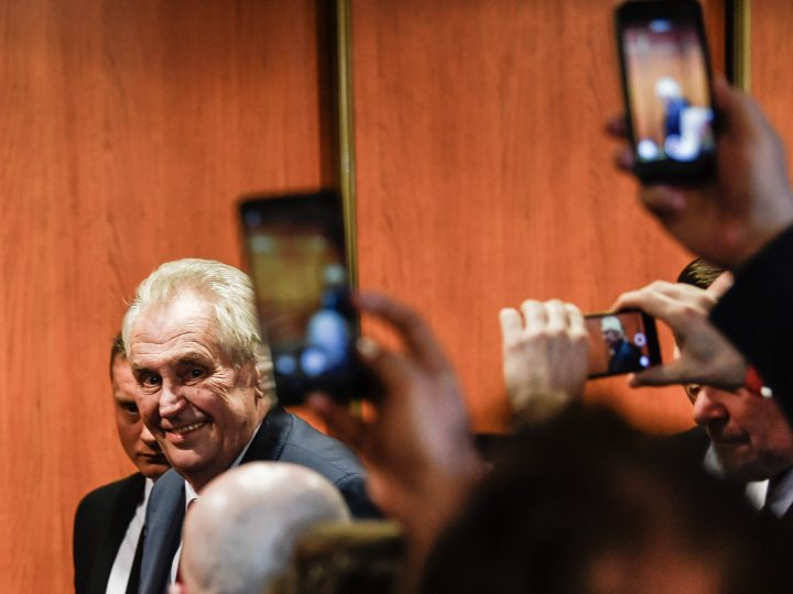 epa06479055 Czech President Milos Zeman smiles as they celebrate his victory in the presidential election run-off in Prague, Czech Republic, 27 January 2018. Current Czech President Milos Zeman defeated former chairman of the Czech Science Academy on 27 January to become the Czech Republic's second president directly elected by citizens. Drahos received 48.47 percent of votes compared to Zeman's 51.52 percent, the statistics office in Prague reported from more than 99.5 percent of polling stations.  EPA-EFE/FILIP SINGER