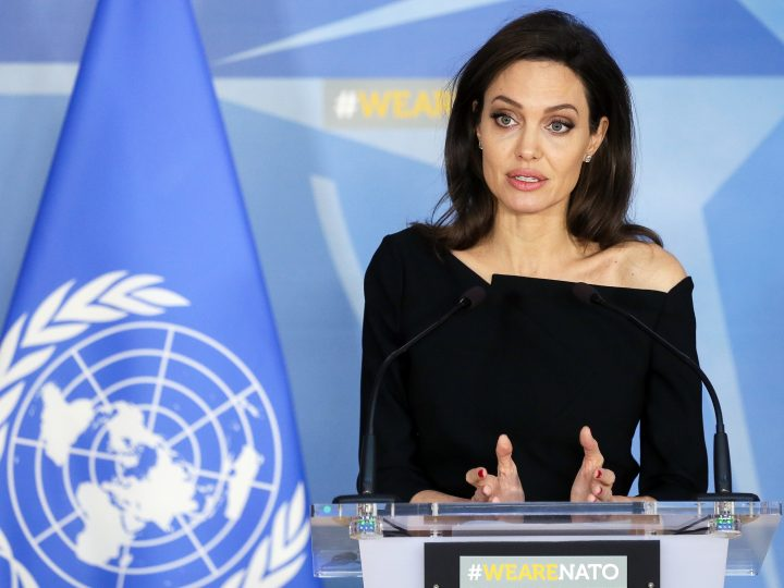 epa06487747 Special Envoy for the United Nations High Commissioner for Refugees (UNHCR) and co-Founder of the Preventing Sexual Violence Initiative and actress Angelina Jolie at a joint press conference at the end of a meeting with NATO Secretary General Jens Stoltenberg (not seen) at alliance headquarters in Brussels, Belgium, 31 January 2018.  EPA-EFE/STEPHANIE LECOCQ