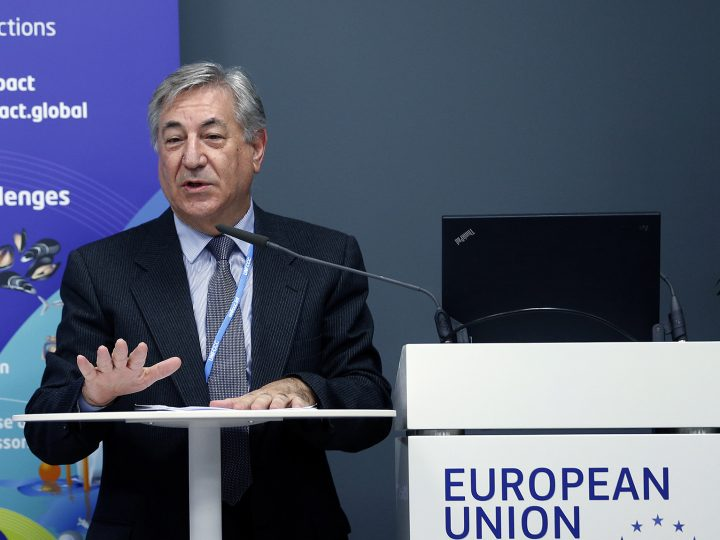 Karmenu Villa, Commissioner for Environment, Maritime Affairs and Fisheries, European Commission speaks at the European Union pavillon at the COP23 United Nations Climate Change Conference on November 10, 2017 in Bonn, Germany.