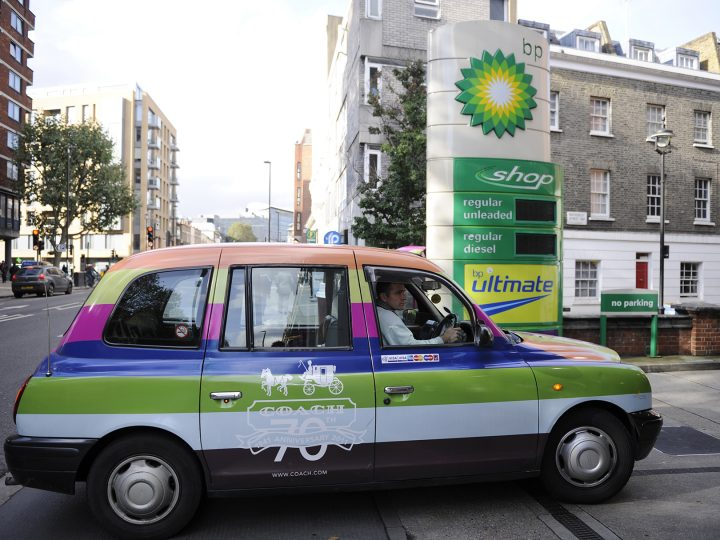 epa03569181 (FILE) A file photo dated 30 October 2012 showing a London cab entering a BP petrol station in London, Britain.  British oil company BP on 05 February 2013 reported a fall in fourth-quarter profits following production declines and billions of dollars in settlements over the fatal Gulf of Mexico oil spill. Net profit dropped to 1.6 billion dollars, from just under 7.7 billion dollars a year earlier. Excluding one-time charges, earnings were 4 billion dollars. Chief executive Bob Dudley said: 'We have moved past many milestones in 2012, repositioning BP through divestments and bringing on new projects.'  EPA/FACUNDO ARRIZABALAGA