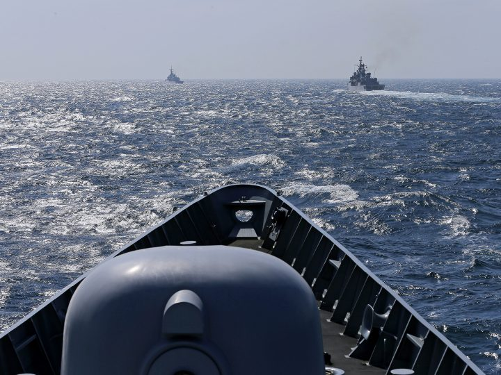 epa04665112 Turkish frigate TCG Turgutreis (L) and Italian frigate Aliseo (R) sail ahead of Romanian frigate Regina Maria during a NATO naval drill held on the Black See, off the coast of Constanta, Romania, 16 March 2015. NATO Standing Maritime Group-2 (SNMG-2), a multinational naval NATO forces group commanded by US Admiral Williamson held a multi-purpose war exercise, planned last year. The group is composed by frigates from Turkey, Italy, Canada and Romania, an US cruiser as commander ship, and a fuel tanker from Germany. Participant vessels are US cruiser USS Vicksburg, frigates HMCS Fredericton of Canada, TCG Turgutreis of Turkey, ITS Aliseo of Italy and auxiliary ship FGS Spessart from Germany.  EPA/ROBERT GHEMENT