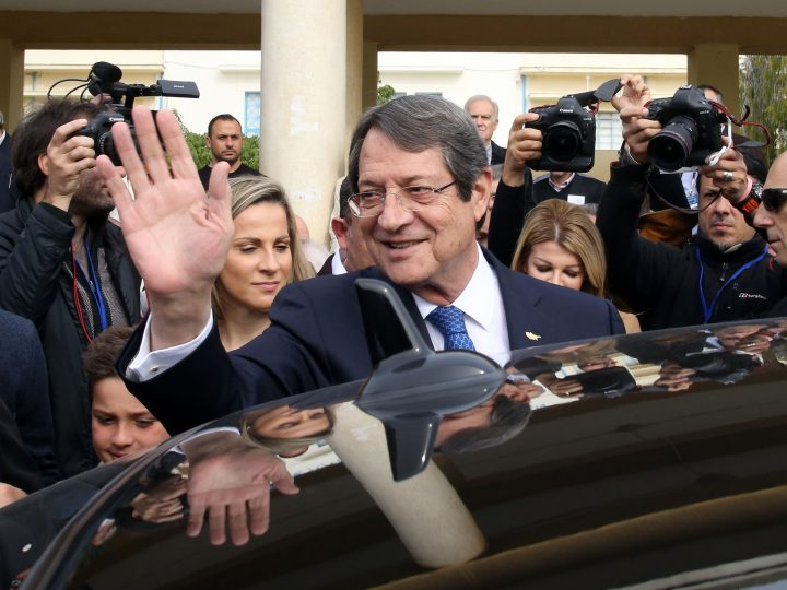 epa06495347 Cypriot presidential candidate Nicos Anastasiades waves as he leaves a polling station after voting for Cyprus' presidential elections in Limassol, Cyprus, 04 February 2018. Greek Cypriots vote to elect a new president for a five year term, in a runoff election. Nicos Anastasiades, the incumbent President, and Stavros Malas, backed by left wing Progressive Party of Working People (AKEL) are the contenders. In the first round, last Sunday, Anastasiades garnered 35.5 percent of the vote, while Malas secured 30.3 percent.  EPA-EFE/KATIA CHRISTODOULOU