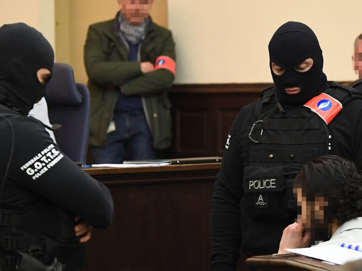 epa06497804 Prime suspect in the November 2015 Paris attacks Salah Abdeslam (R) sits as he is surrounded by Belgian special police officers  in the courtroom prior to the opening of the trial of terror suspects Salah Abdeslam and Sofiane Ayari, also known as Amine Choukri, in Brussels, Belgium, 05 February 2018. Terrorist suspects Salah Abdeslam and Sofiane Ayari are on trial for attempted murder of police searching for suspects of the November 2015 Paris terror attacks that left 130 people dead, when Abdeslam was on the run and hiding in the Belgian capital. Abdeslam allegedly escaped a shootout with Belgian police in March 2016 during which he wounded four officers but was captured and arrested some days later in downtown Brussels. The trial in Belgium only deals with the shootout prior to the arrest. His role in the Paris terrorist attacks will be tried in a court in France at a later stage.  EPA-EFE/EMANUEL DUNAND / POOL