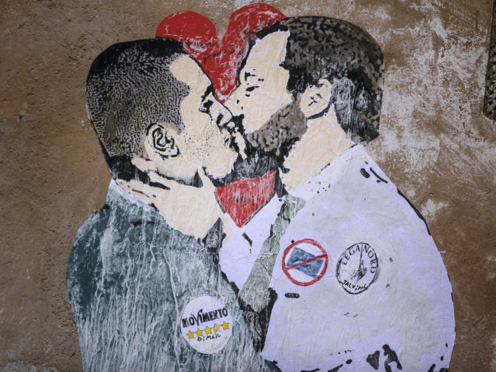 epa06622839 A view of a mural depicting Italian politicians 5-Stars Movement leader Luigi di Maio (L) kissing Lega leader Matteo Salvini, painted on a wall in Rome, Italy, 23 March 2018. The anti-establishment 5-Star Movement (M5S) and the anti-migrant, euroskeptic 'League' party were the big winners of the 04 March 2018 general election, which produced a hung parliament.  EPA-EFE/Massimo Percossi