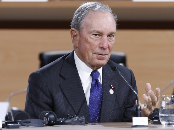 epa06385574 Special envoy to the United Nations for climate change Michael Bloomberg  speaks during the Plenary Session of the One Planet Summit at the Seine Musicale event site on the Ile Seguin near Paris, France, 12 December 2017. The One Planet Summit starts on 12 December 2017, two years to the day after the historic Paris Agreement was concluded.  EPA-EFE/ETIENNE LAURENT / POOL MAXPPP OUT