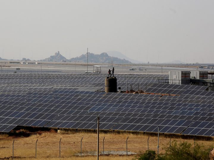 epa06572568 A general view showing the solar panels power project at 'Shakti Sthala', at Pavagada taluk, Tumkur district around 170km north of Bangalore, India, 01 March 2018. The first phase of the Shakti Sthala which was inaugurated on the same day will generate 2700 MegaWatt of capacity when completed in 13 thousand acres with an estimated investment INR 14,800 crore (2.3 billion US dollars).  EPA-EFE/JAGADEESH NV