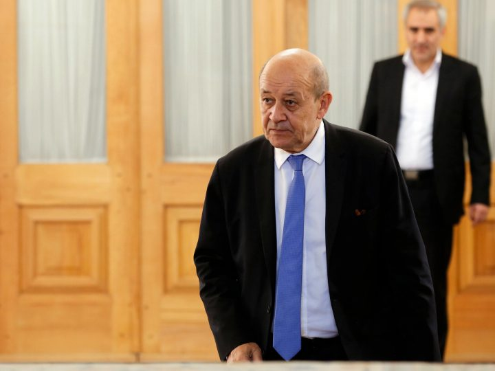 epa06582061 French Foreign Minister Jean-Yves Le Drian arrives to meet with his Iranian counterpart Mohammad Javad Zarif (not pictured) in Tehran, Iran, 05 March 2018. Reports state Le Drian is visiting Tehran for talks that are expected to tackle international concerns over Iran's ballistic missile program as well as efforts to maintain the 2015 Joint Comprehensive Plan of Action, or Iran nuclear deal.  EPA-EFE/ABEDIN TAHERKENAREH