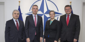Fatih Birol, Executive Director of the International Energy Agency; NATO Secretary General Jens Stoltenberg; Sandra Oudkirk, Deputy Assistant Secretary for Energy Resources at the US State Department and Maros Sefcovic, Vice-President of the European Commission in charge of Energy Union