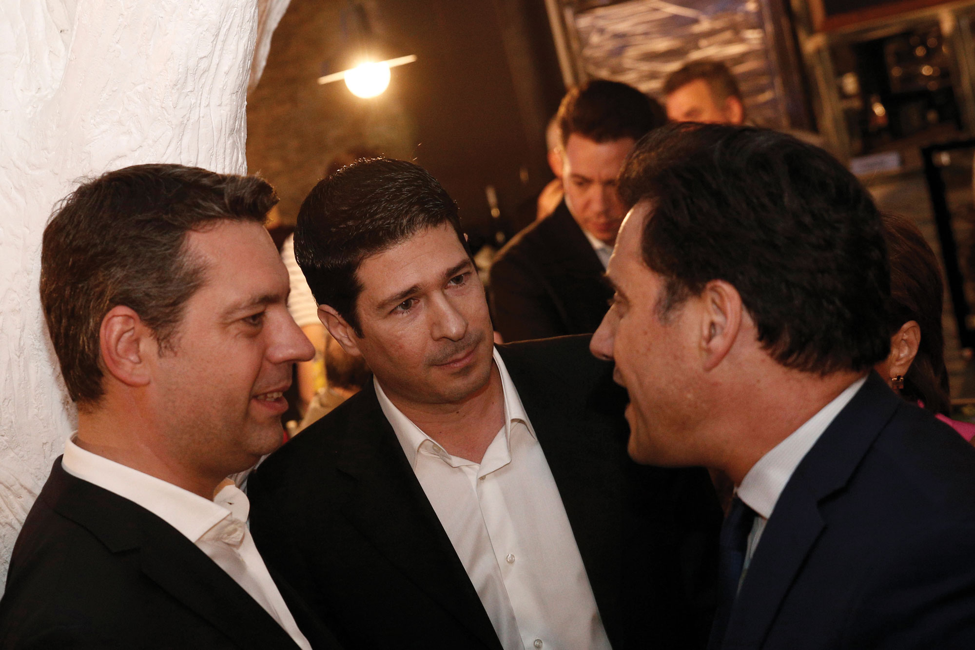 New Democracy Vice-President, Adonis Georgiadis (R), speaking with Greek business network Bucephalos' President Yannis Dimas (C), and Vice-President Vasilis Bousis (L).Alexandros Michailidis | Newsville.be